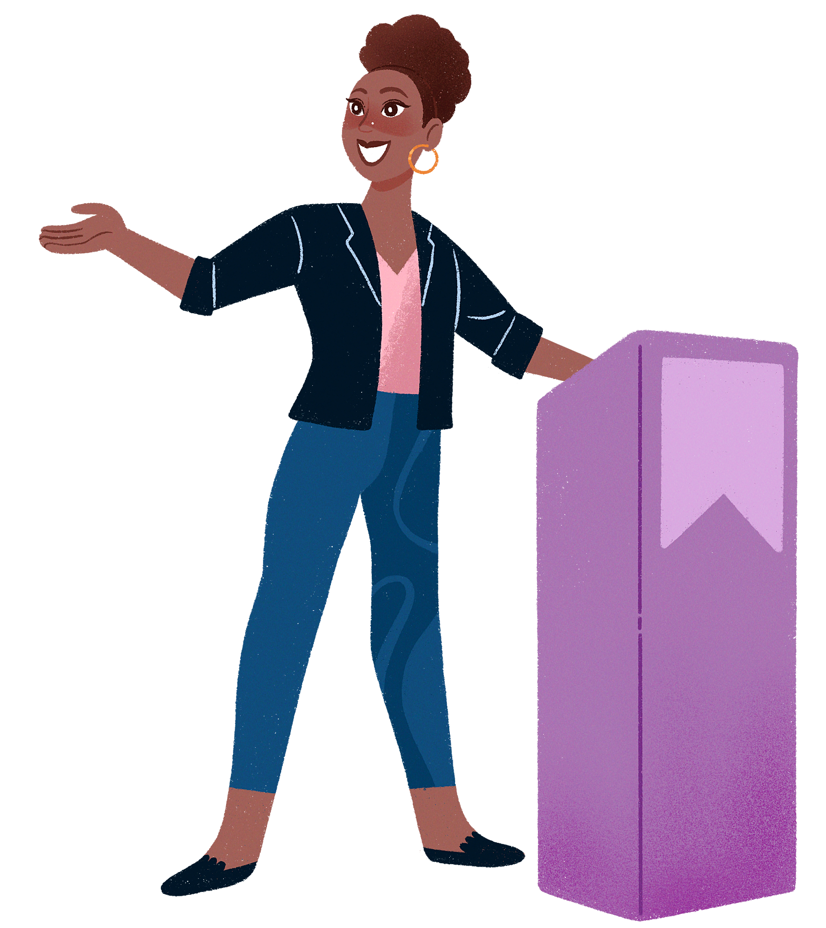 Illustration of me speaking at a podium